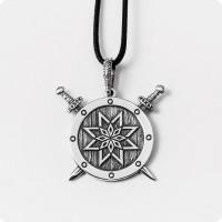 Оберег Алатырь-щит из серебра на щите с мечами