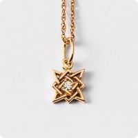 Оберег Звезда Руси (Квадрат Сварога) из золота с камнем