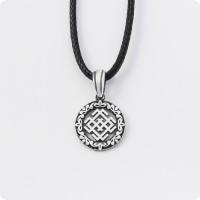 Оберег Символ Белобога из серебра в круге (малый)
